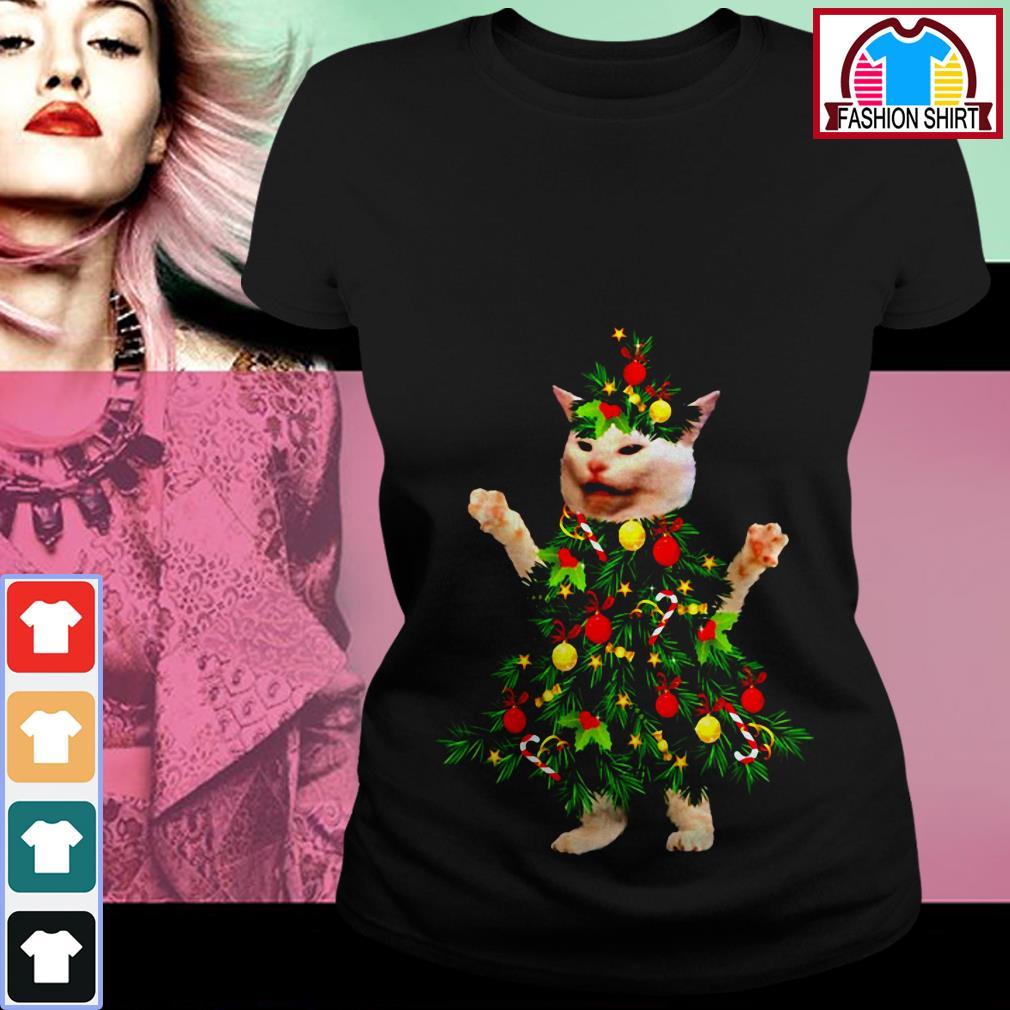 Cat wearing Christmas tree Ladies Tee