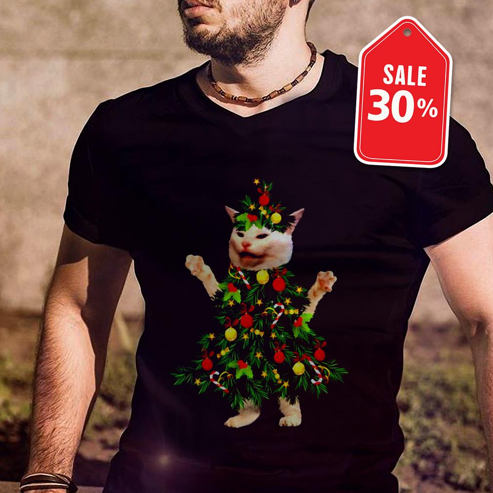 Cat wearing Christmas tree shirt