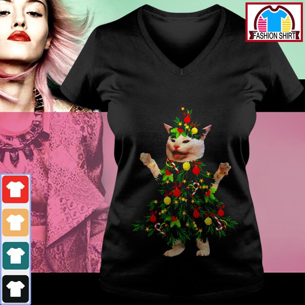 Cat wearing Christmas tree V-neck T-shirt