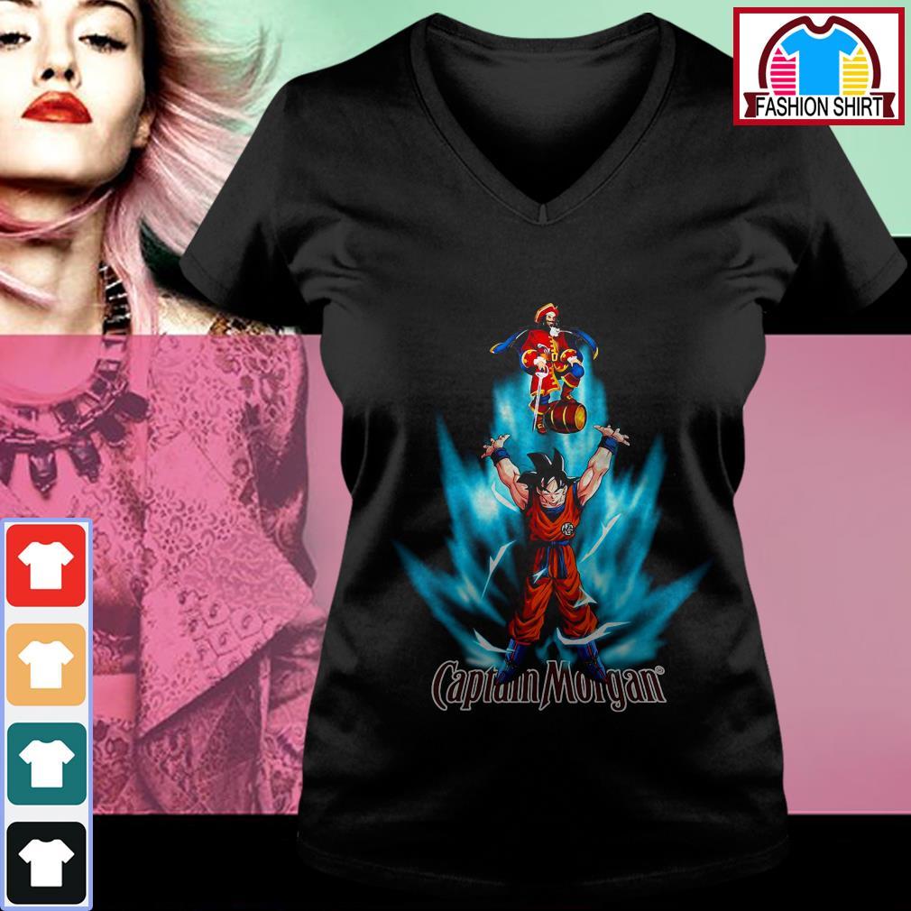 Dragon Ball Z Son Goku Captain Morgan logo V-neck T-shirt