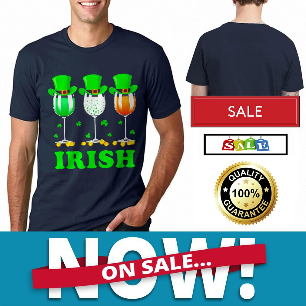 Ireland flag three wine glasses Shamrock St Patrick's Day shirt