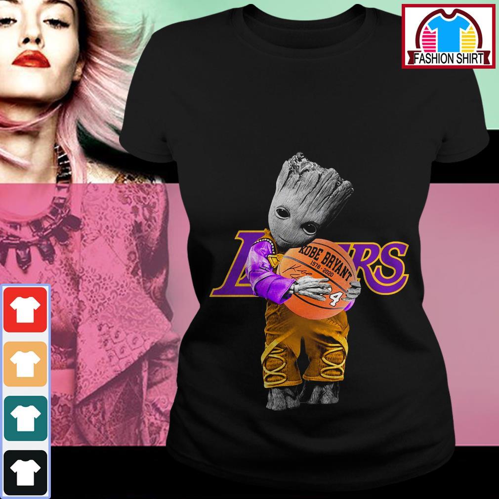 Official Baby Groot Lakers hug Kobe Bryant basketball signature shirt by tshirtat store Ladies Tee
