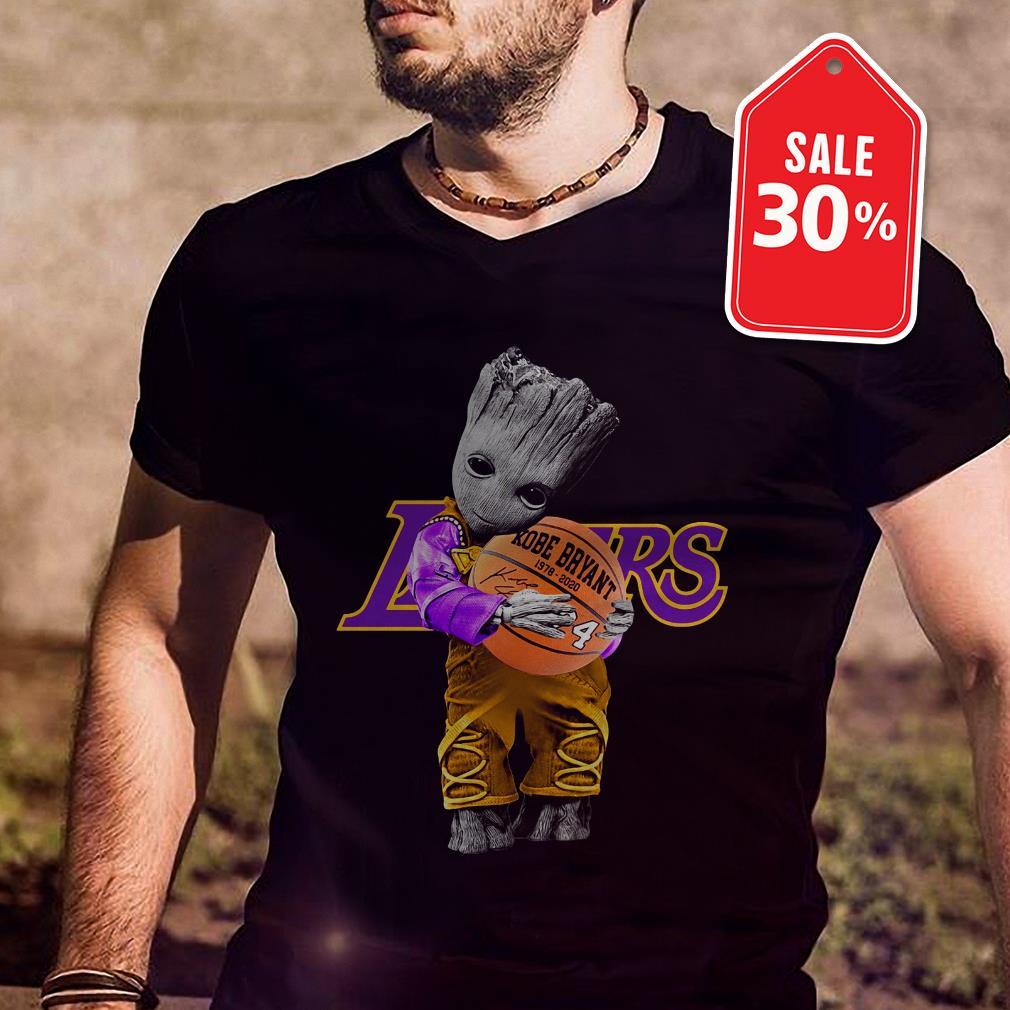 Official Baby Groot Lakers hug Kobe Bryant basketball signature shirt by tshirtat store Shirt