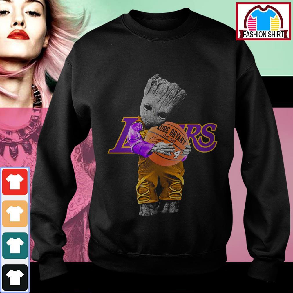 Official Baby Groot Lakers hug Kobe Bryant basketball signature shirt by tshirtat store Sweater