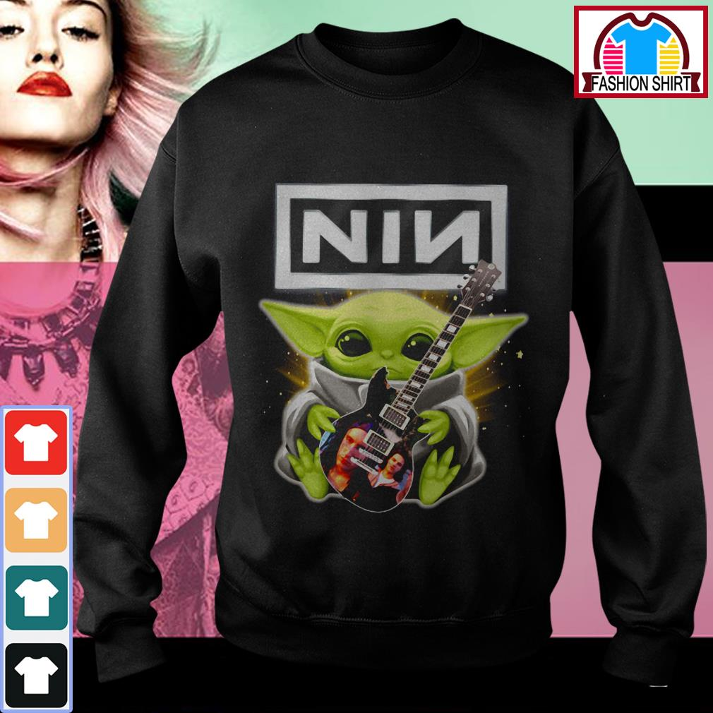 Official Baby Yoda hug Nine Inch Nails guitar shirt by tshirtat store Sweater