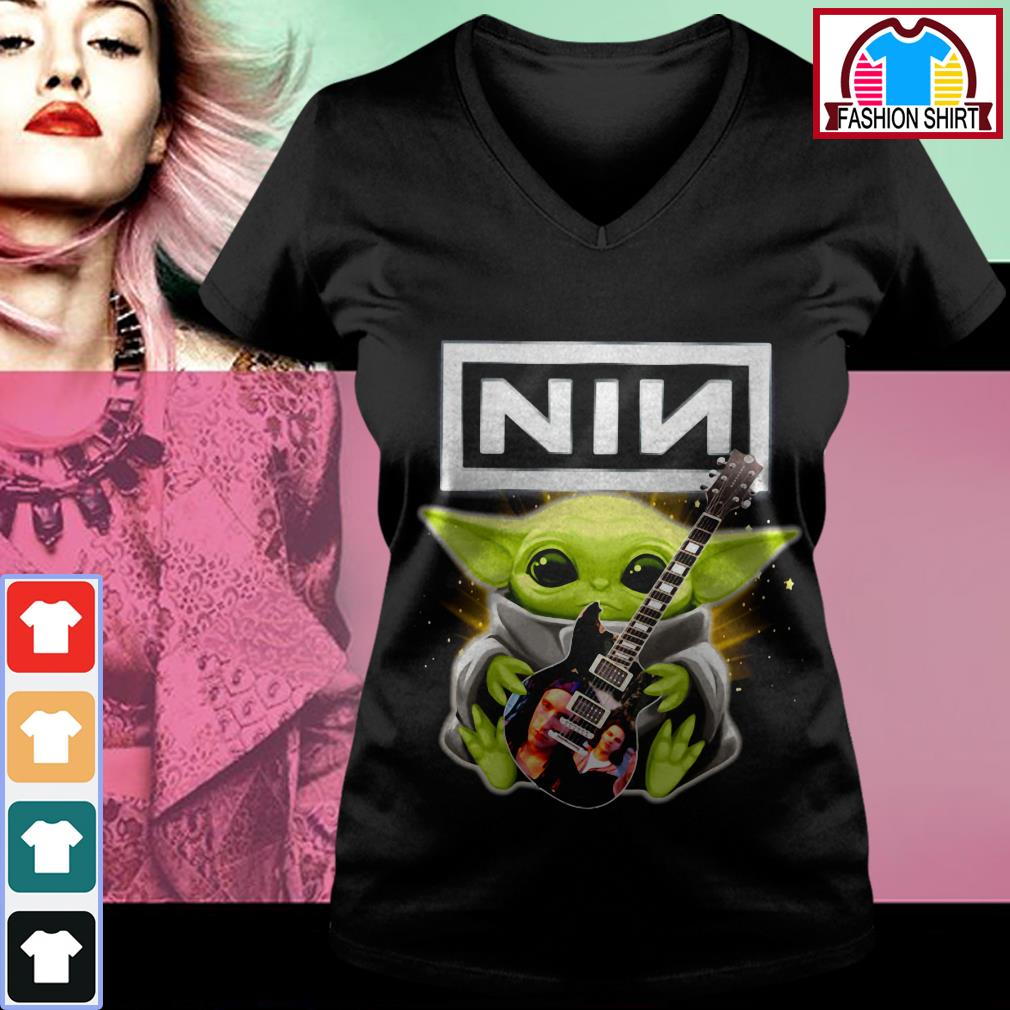 Official Baby Yoda hug Nine Inch Nails guitar shirt by tshirtat store V-neck T-shirt