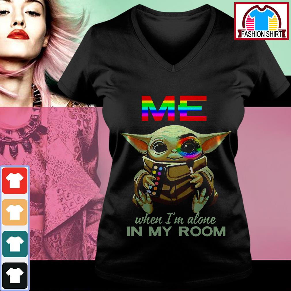 Official Baby Yoda Me when I'm alone in my room shirt by tshirtat store V-neck T-shirt