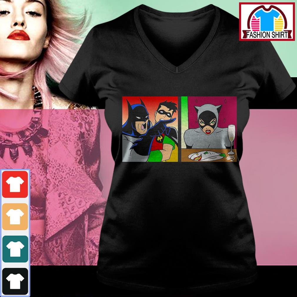 Official Batman yelling at Catwoman shirt by tshirtat store V-neck T-shirt