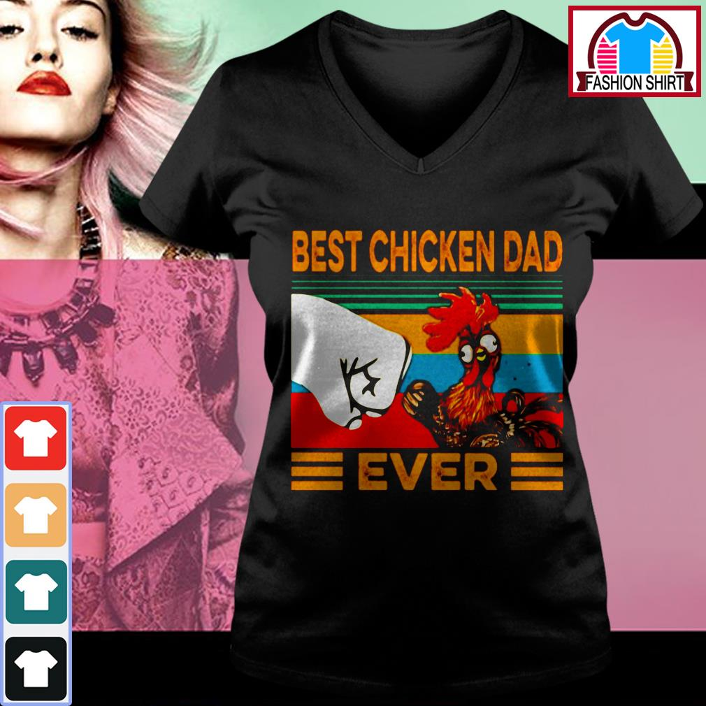 Official Best chicken dad ever vintage shirt by tshirtat store V-neck T-shirt