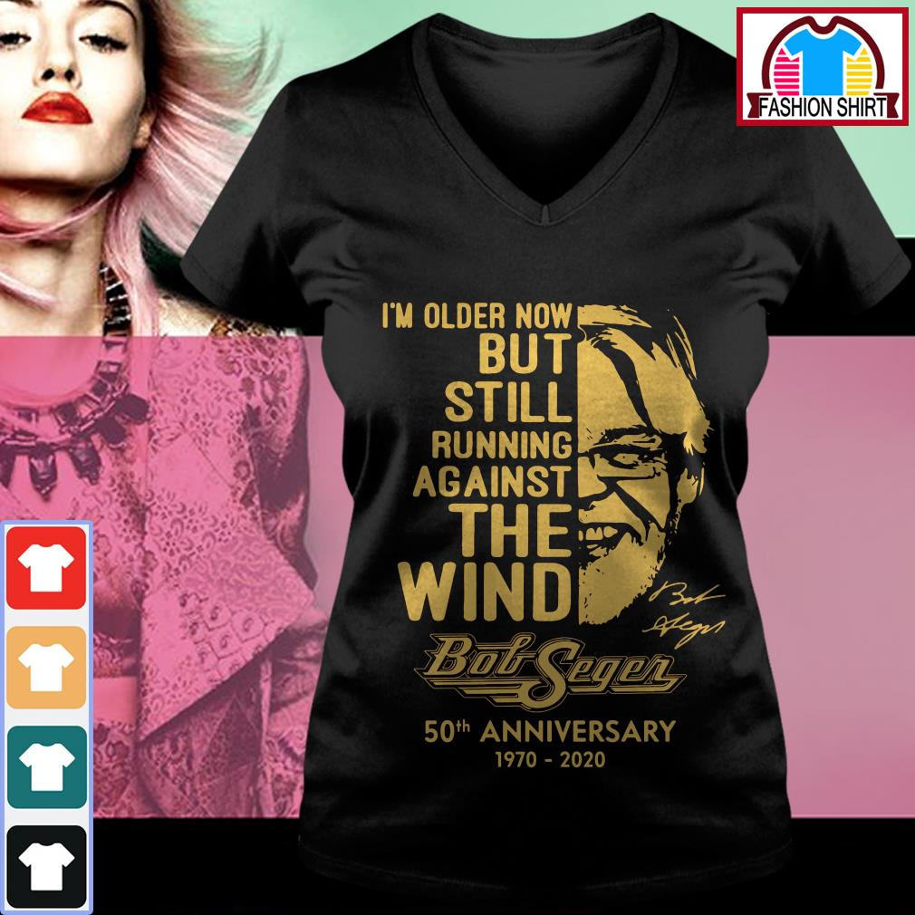 Official I'm older now but still running against the wind Bob Seger 50th anniversary 1970-2020 shirt by tshirtat store V-neck T-shirt
