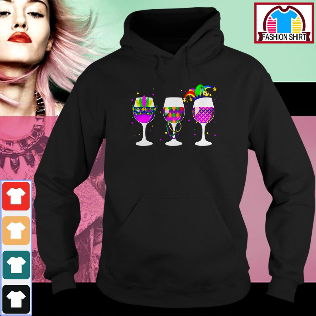 Official Mardi Gras glass of wine shirt by tshirtat store Hoodie