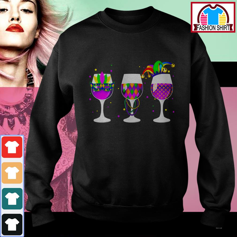 Official Mardi Gras glass of wine shirt by tshirtat store Sweater