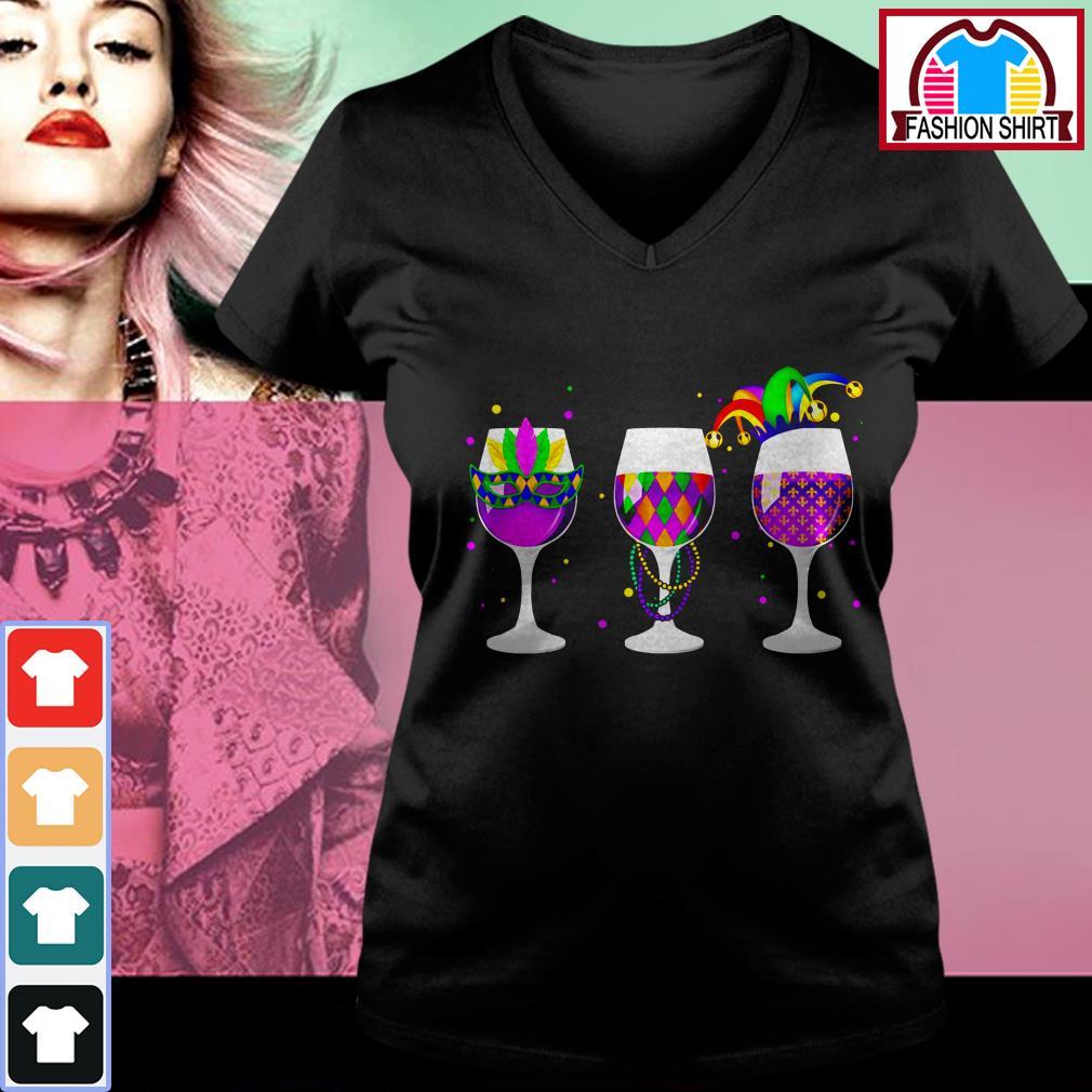 Official Mardi Gras glass of wine shirt by tshirtat store V-neck T-shirt