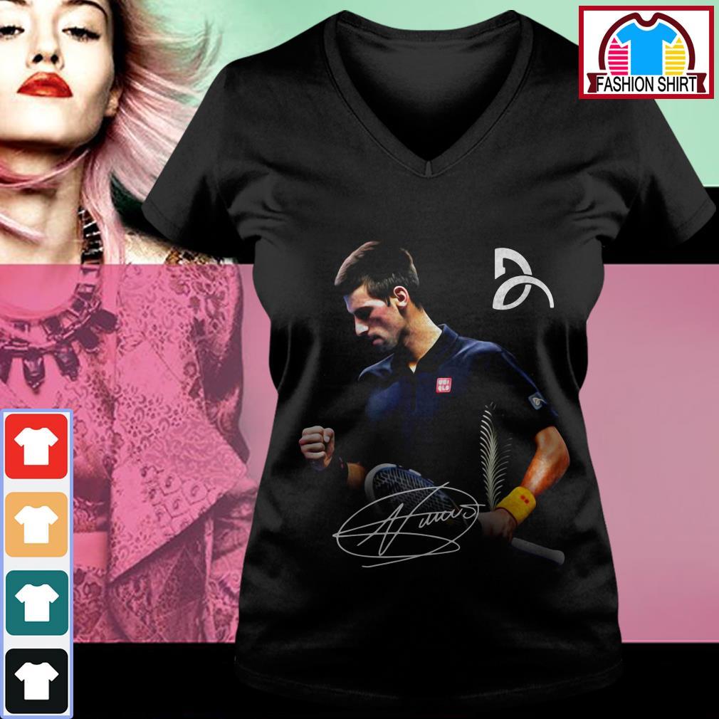 Official Novak Djokovic signature shirt by tshirtat store V-neck T-shirt