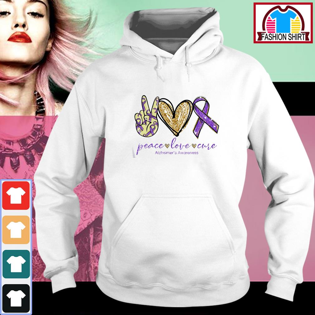 Official Peace love cure Alzheimer's Awareness shirt by tshirtat store Hoodie