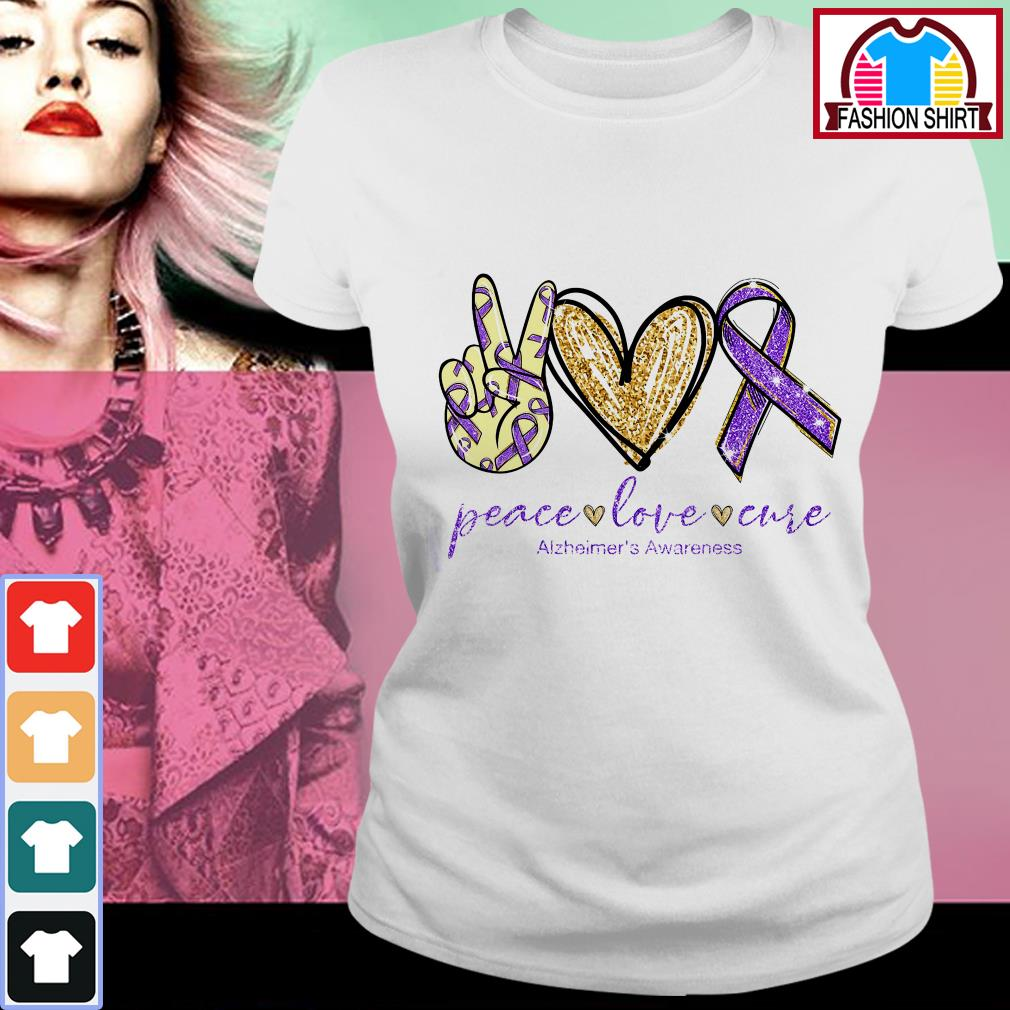 Official Peace love cure Alzheimer's Awareness shirt by tshirtat store Ladies Tee