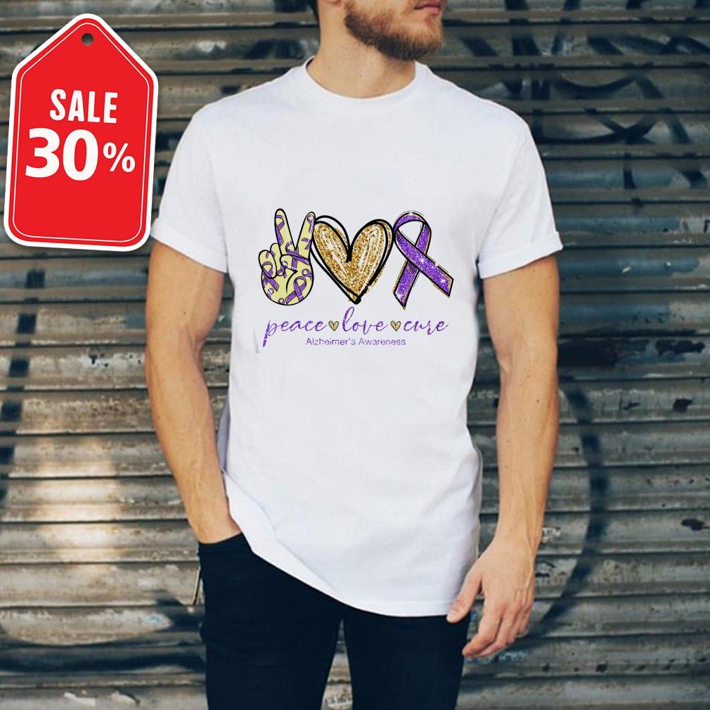 Official Peace love cure Alzheimer's Awareness shirt by tshirtat store Shirt