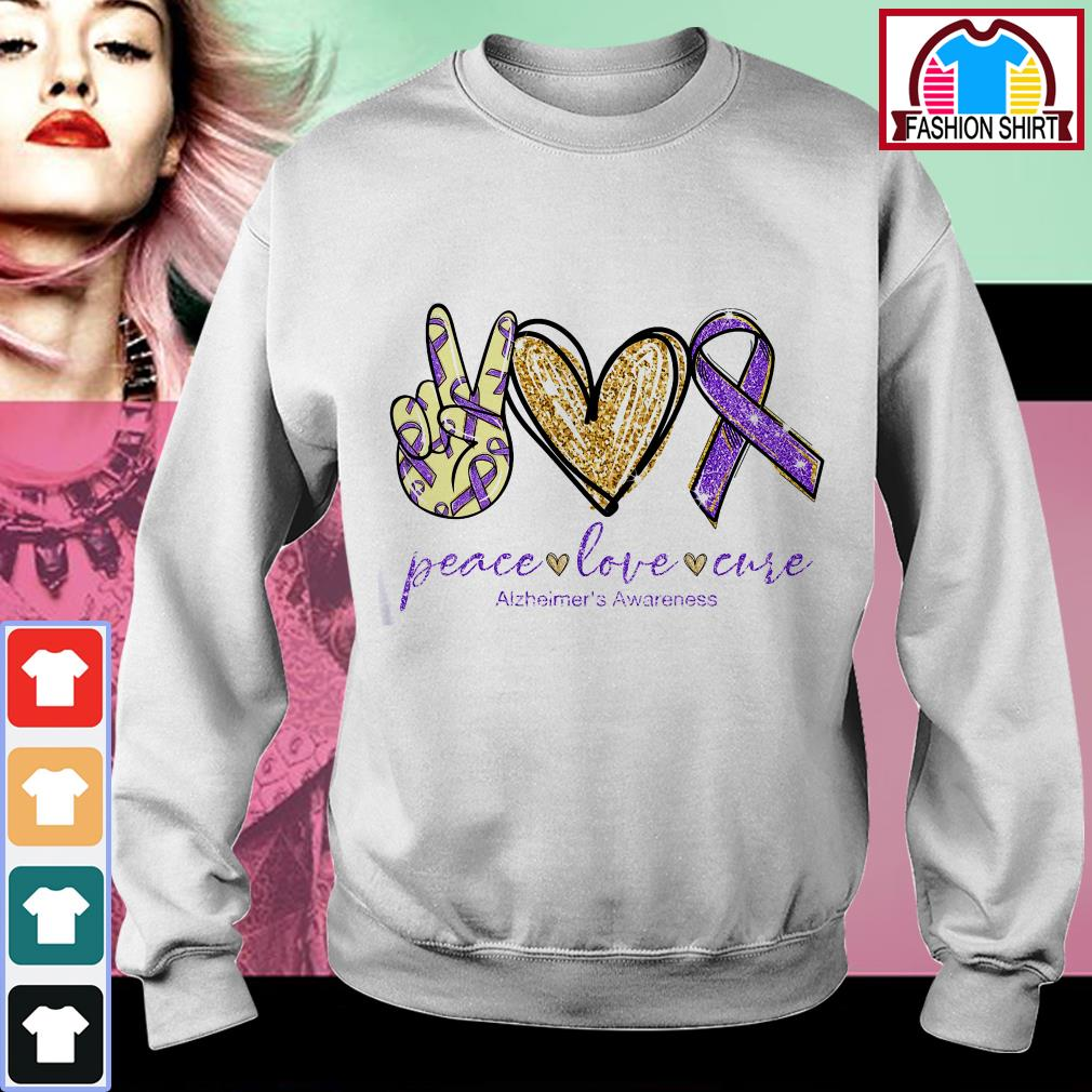 Official Peace love cure Alzheimer's Awareness shirt by tshirtat store Sweater