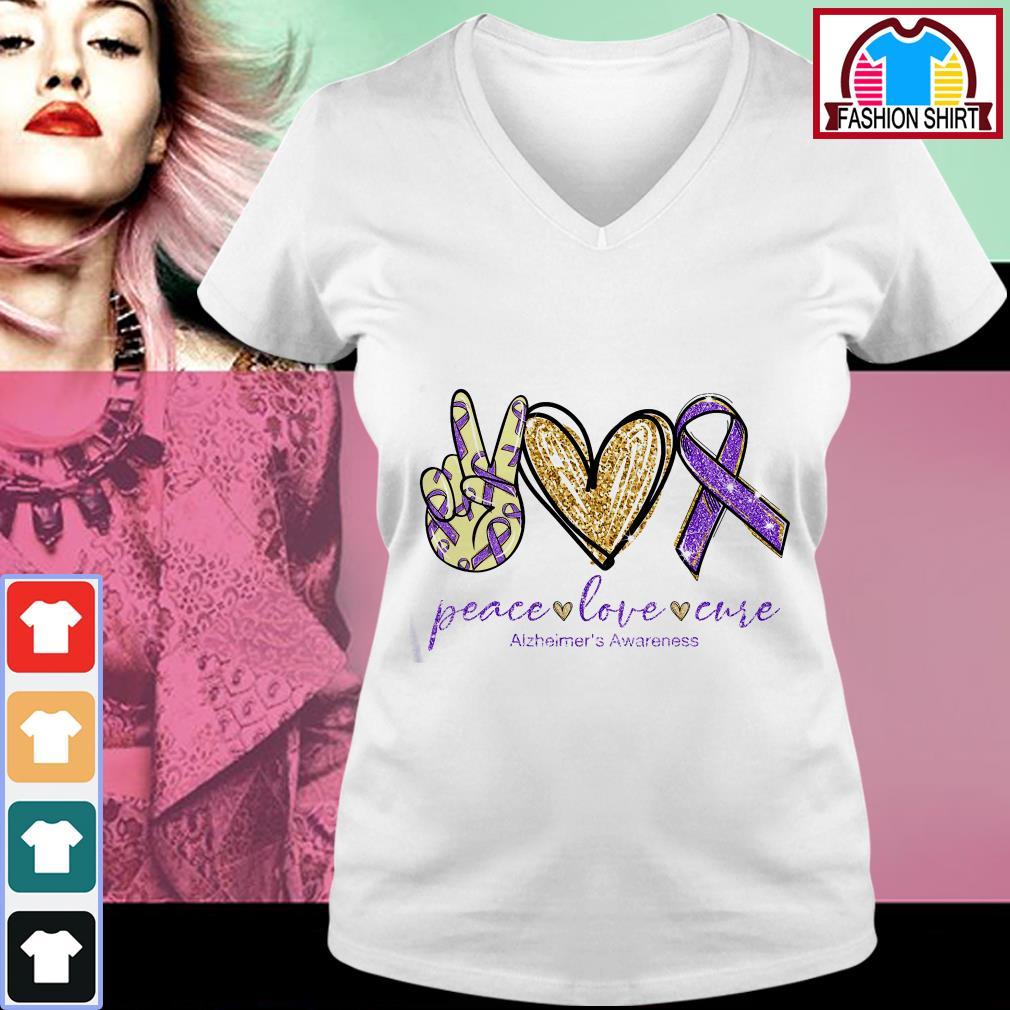 Official Peace love cure Alzheimer's Awareness shirt by tshirtat store V-neck T-shirt