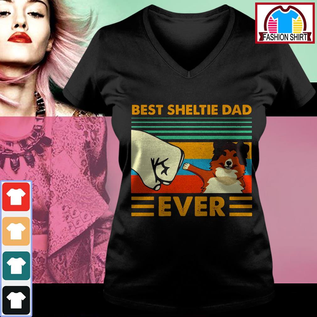 Official Shetland Sheepdog Best Sheltie Dad Ever Vintage shirt by tshirtat store V-neck T-shirt