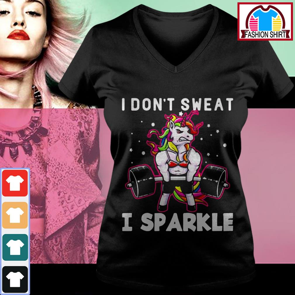 Official Unicorn I don't sweat I sparkle shirt by tshirtat store V-neck T-shirt
