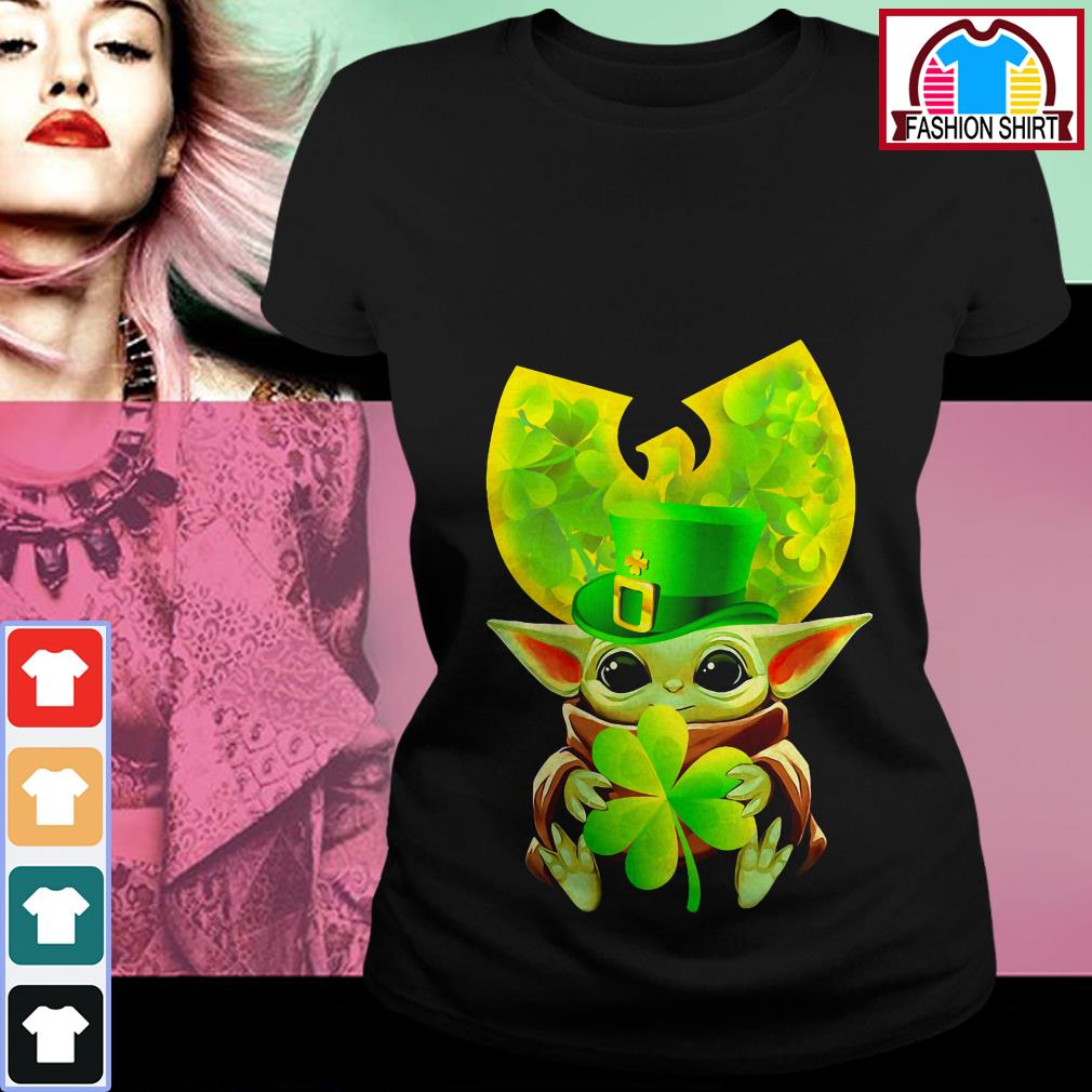 Official Wu-Tang Clan baby Yoda hug Irish clover shirt by tshirtat store Ladies Tee