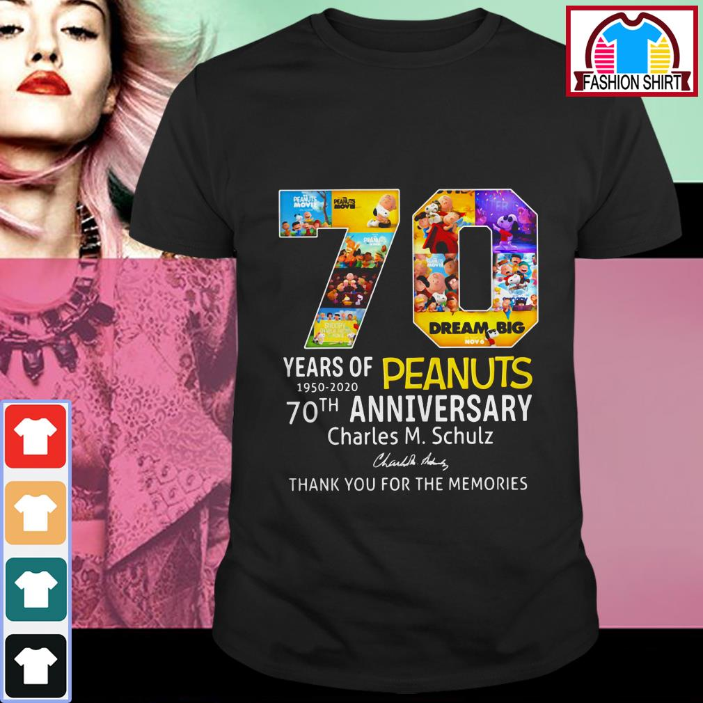 Official 70 years of Peanuts 1950-2020 70th anniversary thank you for the memories shirt by tshirtat store Shirt