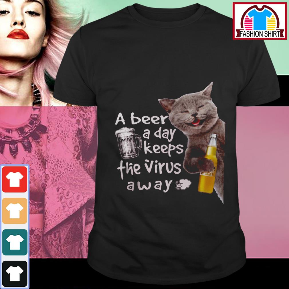 Official Cat drink Corona Extra a beer a day keeps the virus away shirt by tshirtat store Shirt