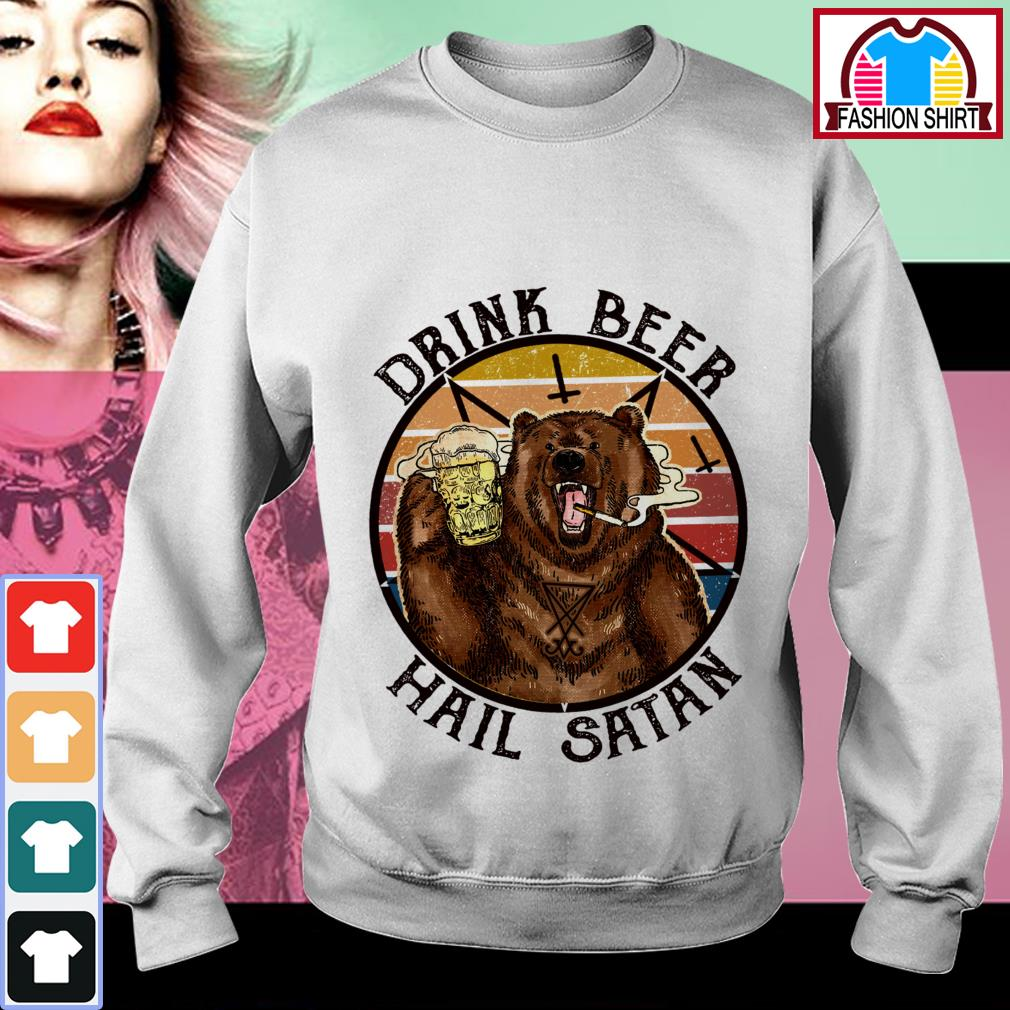 Official Bear drink beer hail Satan vintage shirt by tshirtat store Sweater