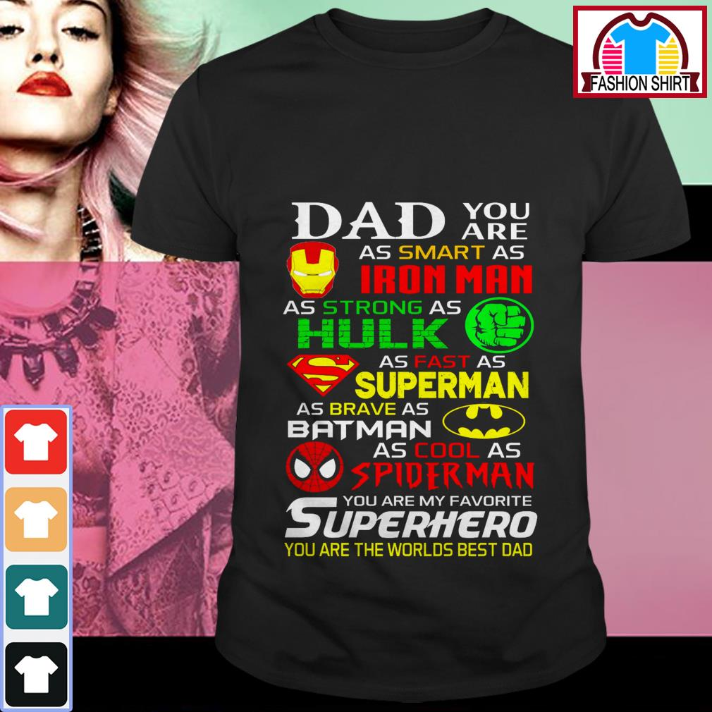 Official Dad you are as smart as Iron man as strong as Hulk shirt by tshirtat store Shirt