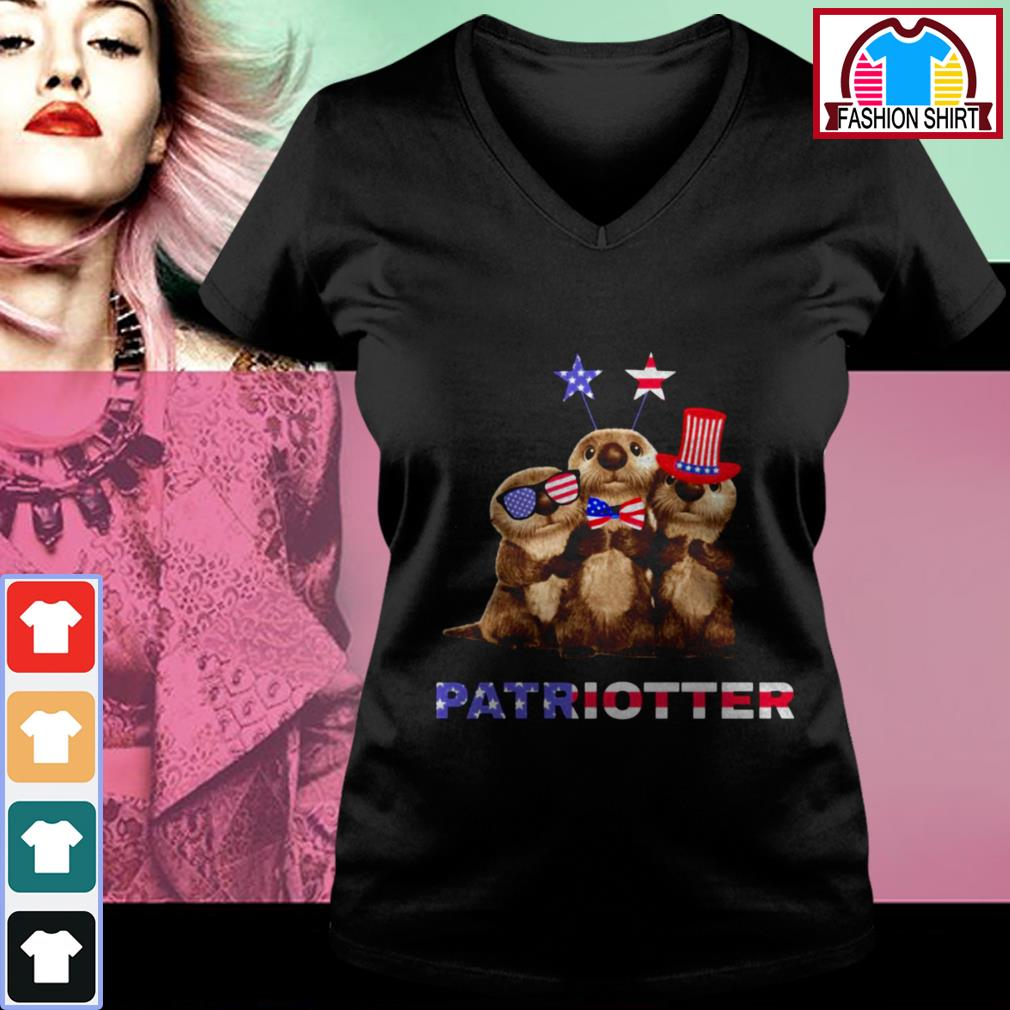 Official Otter Patriotter 4th of July shirt by tshirtat store V-neck T-shirt