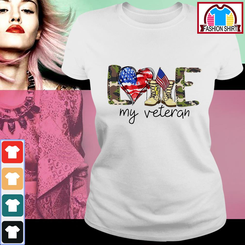 Official 4th of July love my veteran shirt by tshirtat store Ladies Tee
