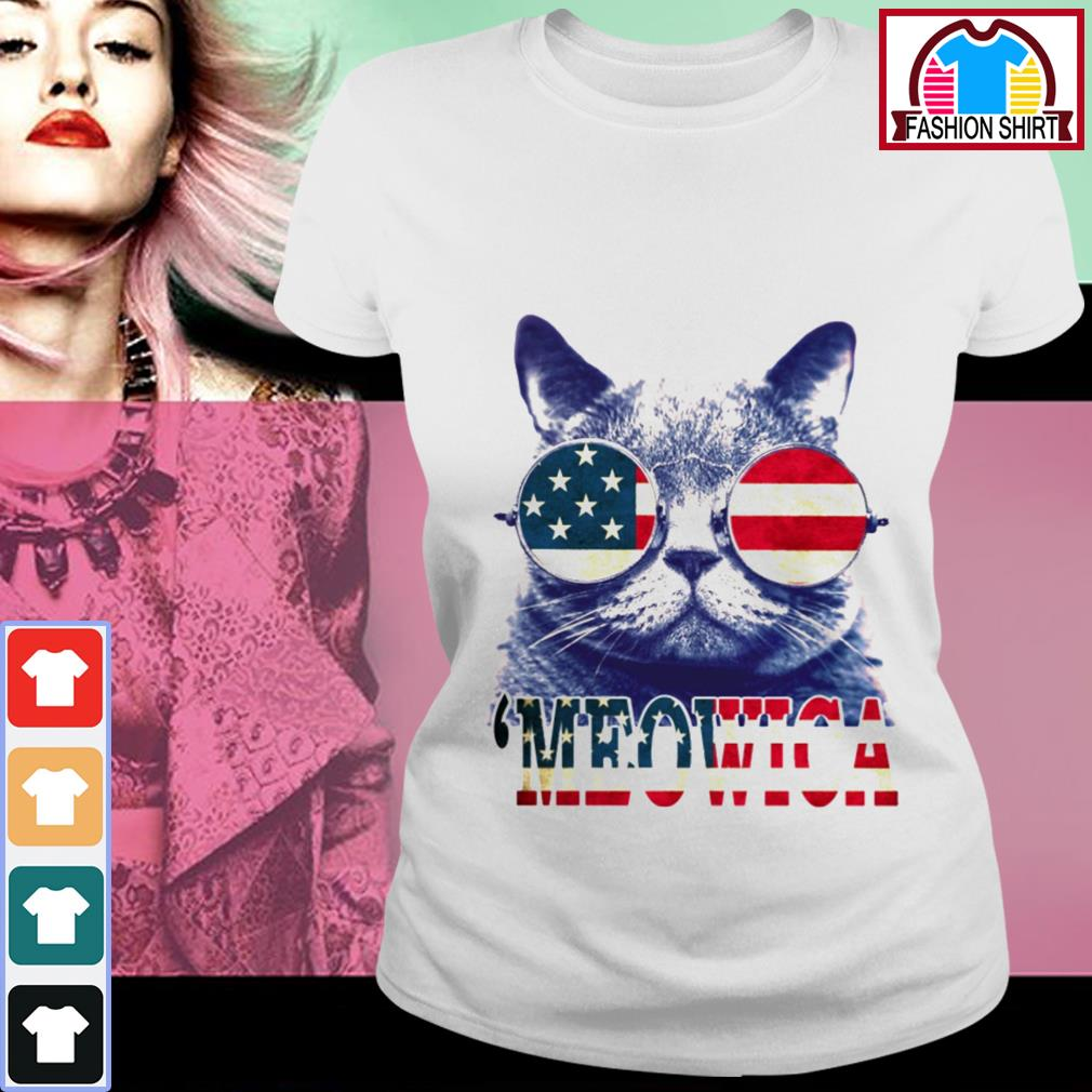 Official 4th of July 'meowica British Shorthair Cat shirt by tshirtat store Ladies Tee