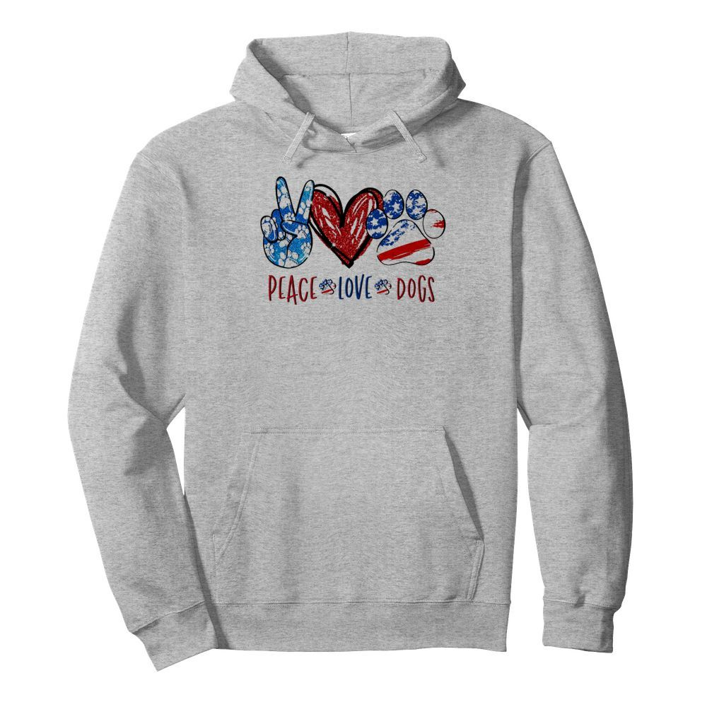 Official 4th of July Peace love dogs shirt by tshirtat store Hoodie