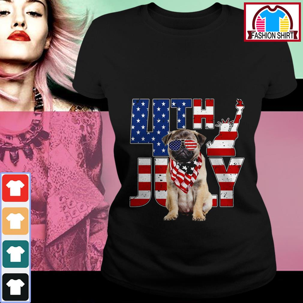 Official 4th of July Pug shirt by tshirtat store Ladies Tee