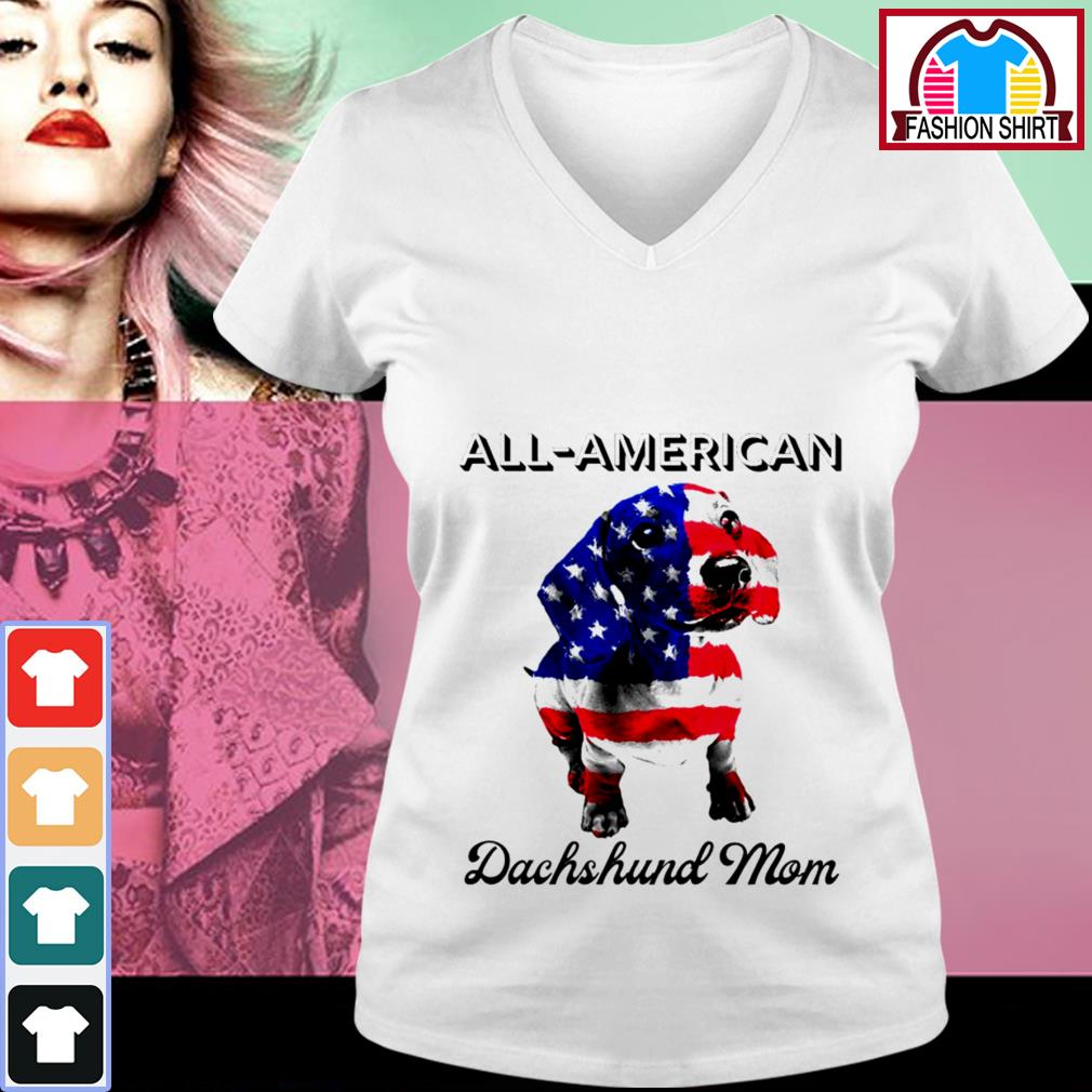 Official All-American Dachshund mom 4th of July shirt by tshirtat store V-neck T-shirt