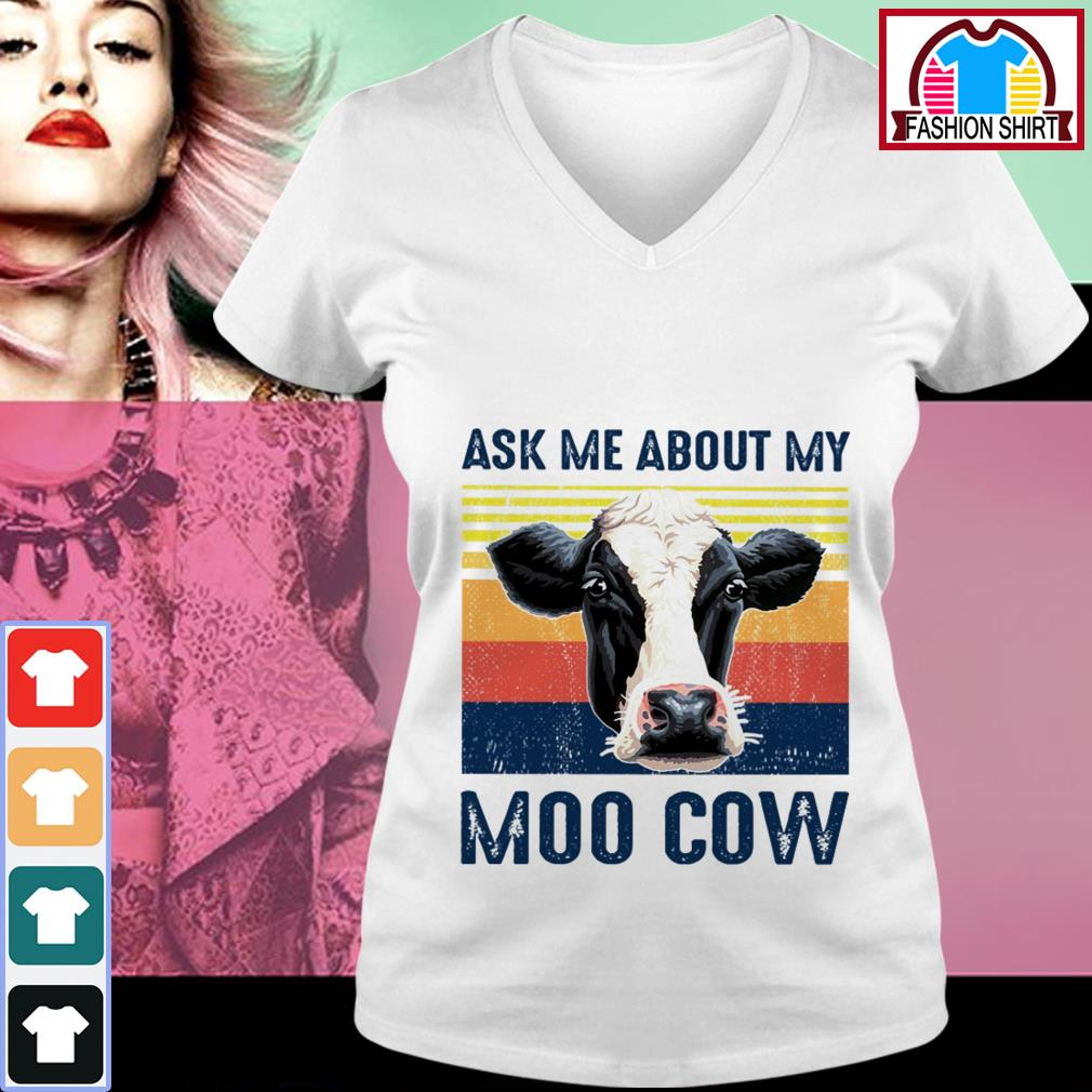 Official Ask me about my moo cow vintage shirt by tshirtat store V-neck T-shirt