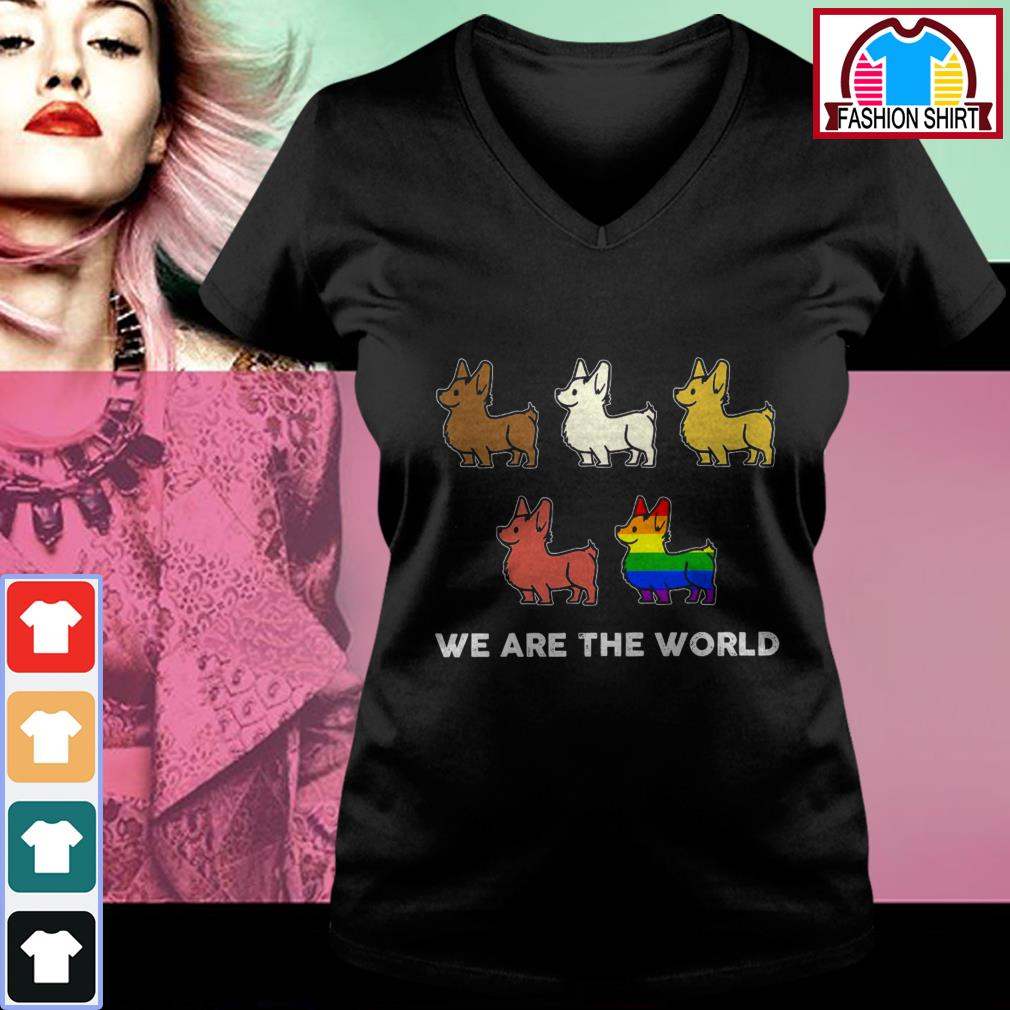 Official Corgi we are the world LGBT shirt by tshirtat store V-neck T-shirt
