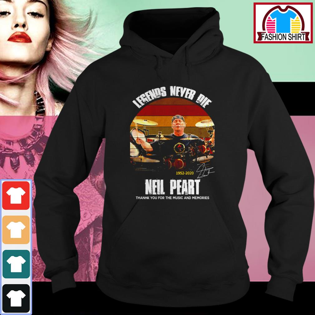 Official Legends never die Neil Peart 1952-2020 thank you for the memories vintage shirt by tshirtat store Hoodie