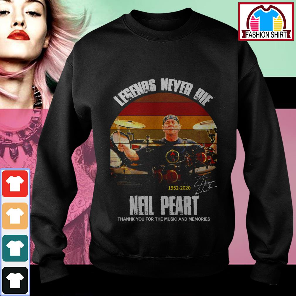 Official Legends never die Neil Peart 1952-2020 thank you for the memories vintage shirt by tshirtat store Sweater