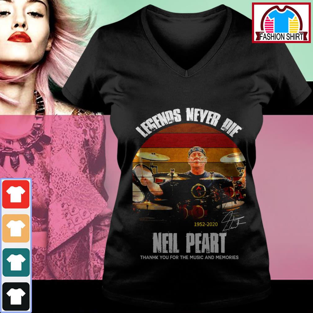 Official Legends never die Neil Peart 1952-2020 thank you for the memories vintage shirt by tshirtat store V-neck T-shirt