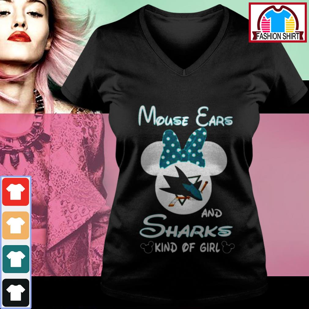 Official Mouse ears and sharks kind of girl shirt by tshirtat store V-neck T-shirt
