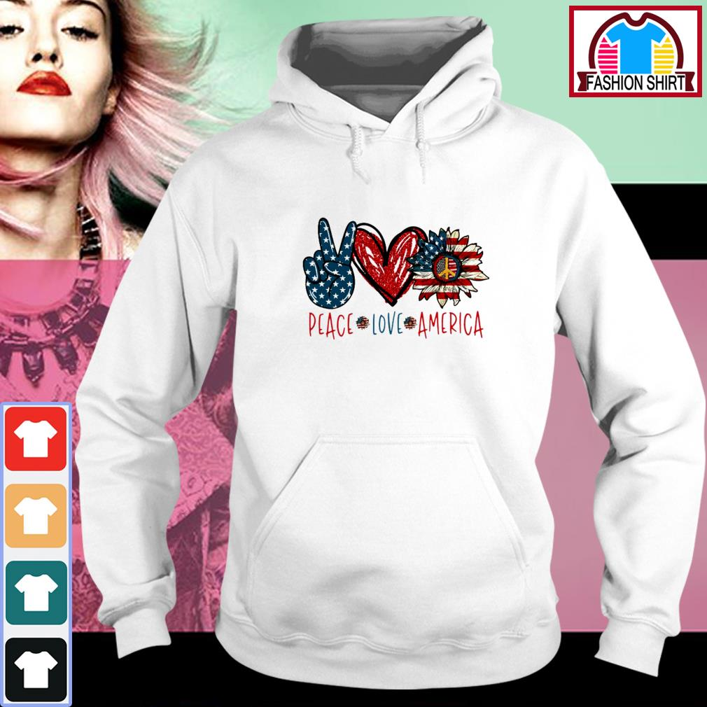 Official Peace Love Sunflower Cross American Flag Veteran Independence Day shirt by tshirtat store Hoodie
