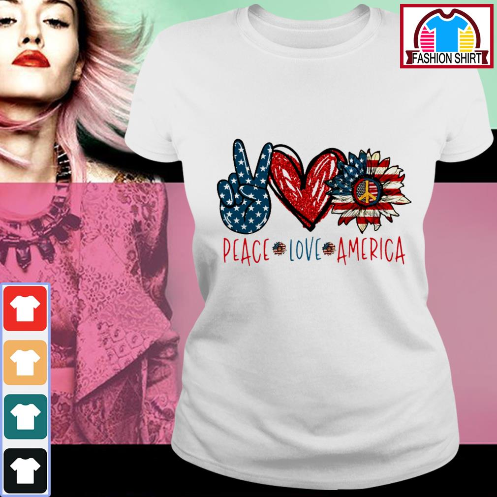Official Peace Love Sunflower Cross American Flag Veteran Independence Day shirt by tshirtat store Ladies Tee