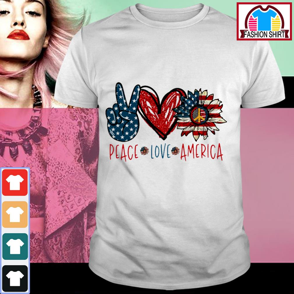 Official Peace Love Sunflower Cross American Flag Veteran Independence Day shirt by tshirtat store Shirt