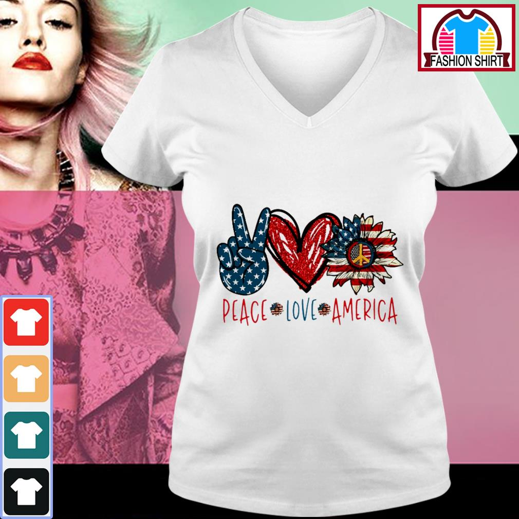 Official Peace Love Sunflower Cross American Flag Veteran Independence Day shirt by tshirtat store V-neck T-shirt