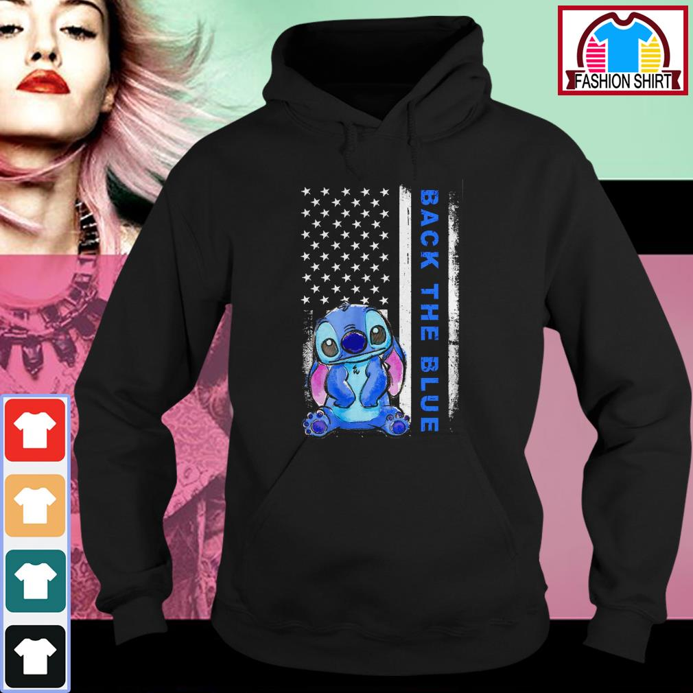 Official Stitch back the blue American flag shirt by tshirtat store Hoodie