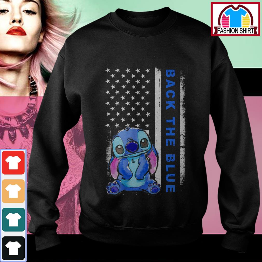 Official Stitch back the blue American flag shirt by tshirtat store Sweater