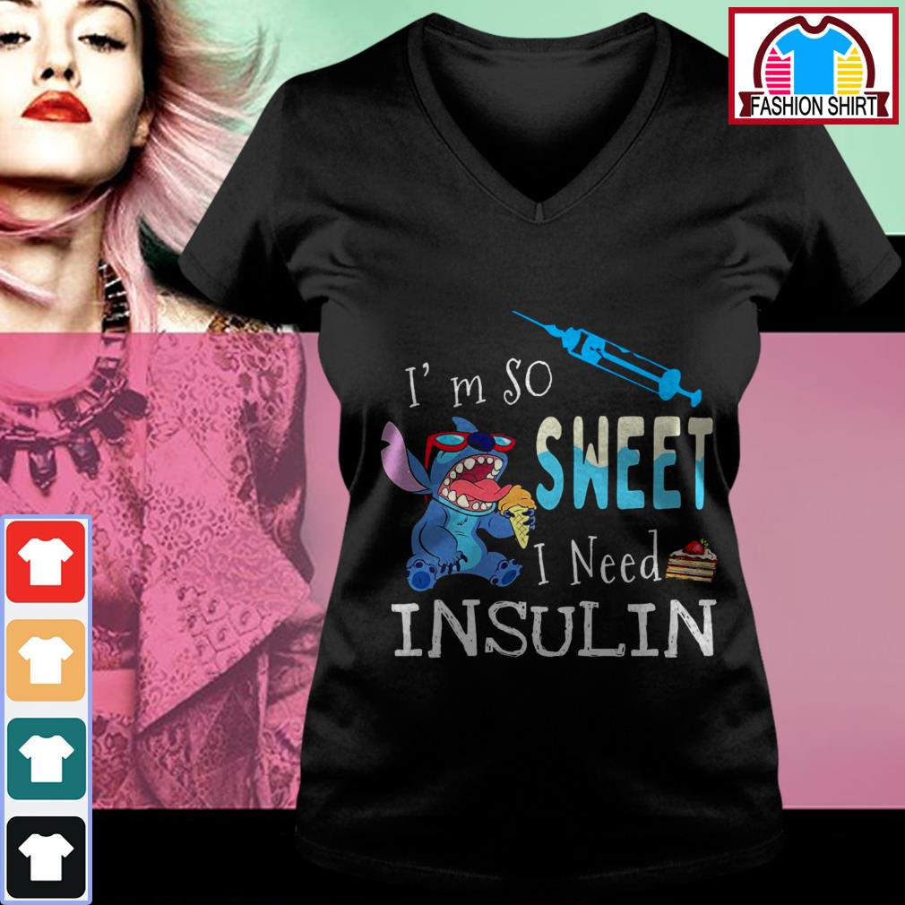 Official Stitch I'm so sweet I need insulin shirt by tshirtat store V-neck T-shirt