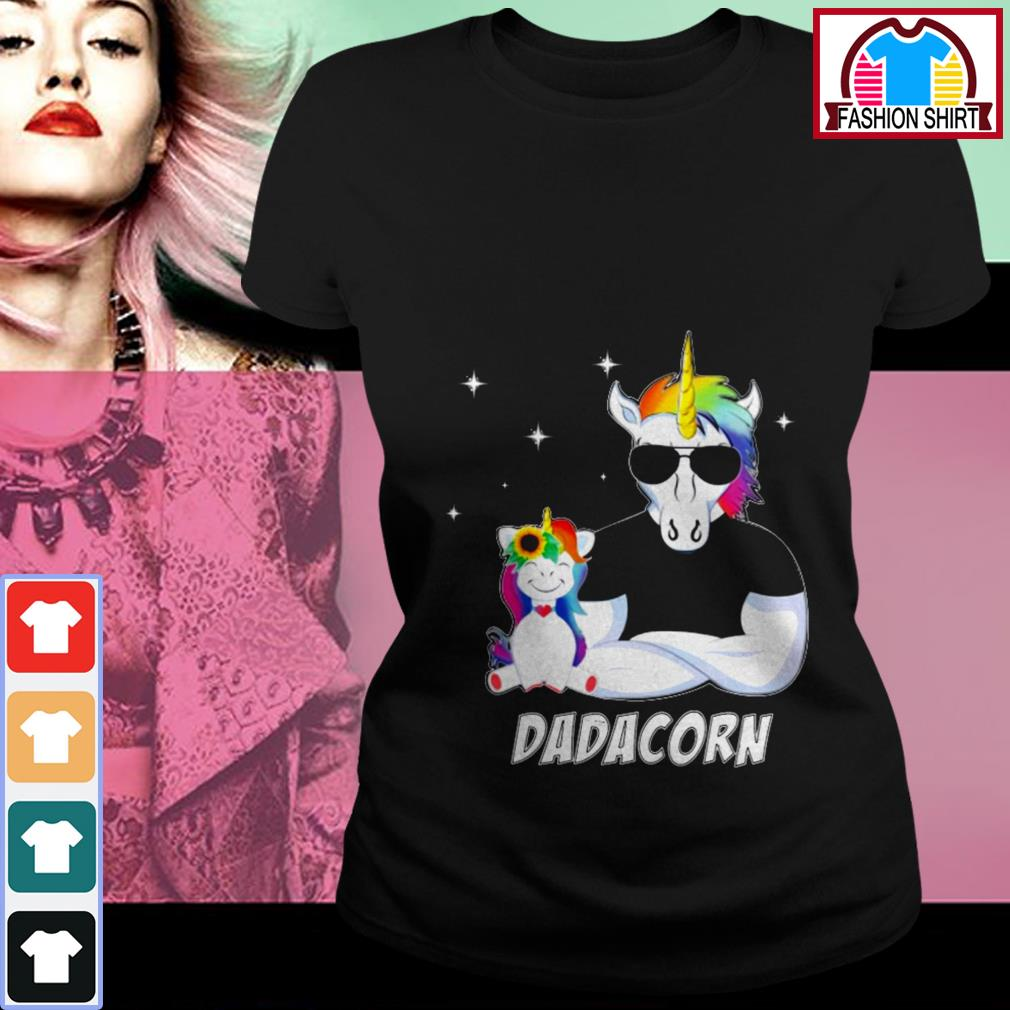 Official Unicorn Dadacorn dad Father's day shirt by tshirtat store Ladies Tee